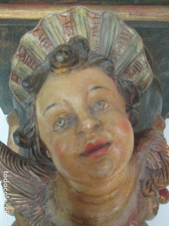 Antigüedades: Preciosa Ménsula - Peana - Madera Tallada y Policromada - Ángel Querubín - Foto 13 - 171022364