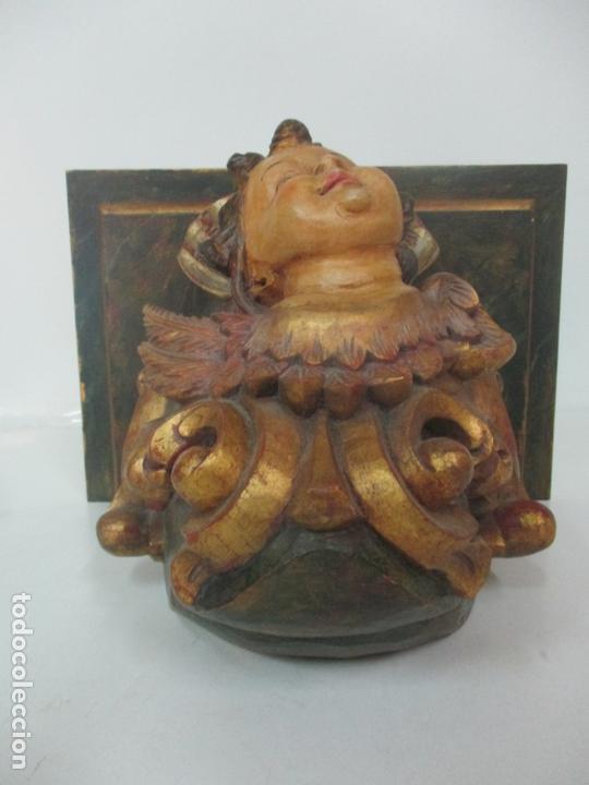 Antigüedades: Preciosa Ménsula - Peana - Madera Tallada y Policromada - Ángel Querubín - Foto 14 - 171022364