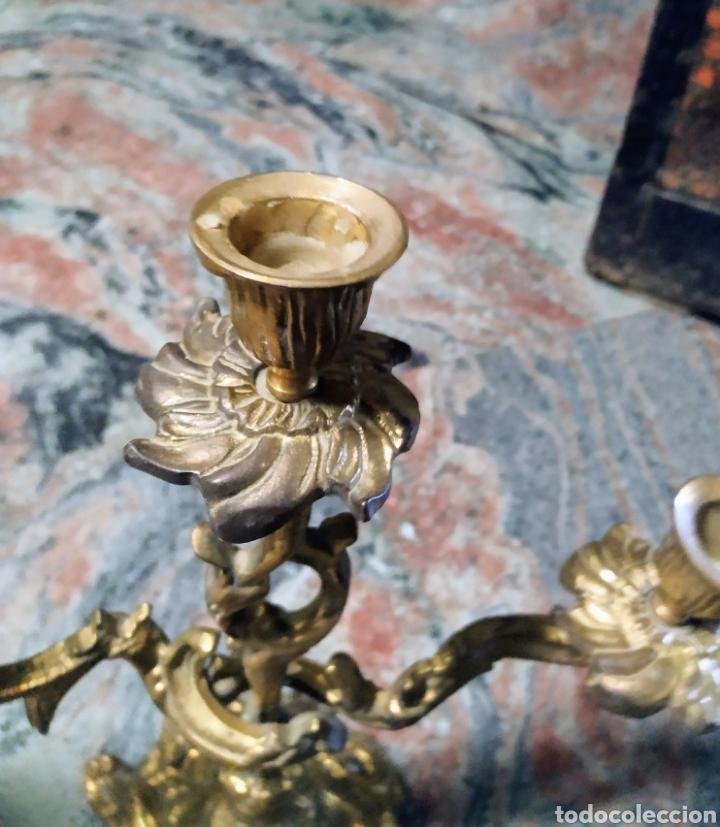 Antigüedades: Pareja candelabros bronce - Foto 3 - 171027343