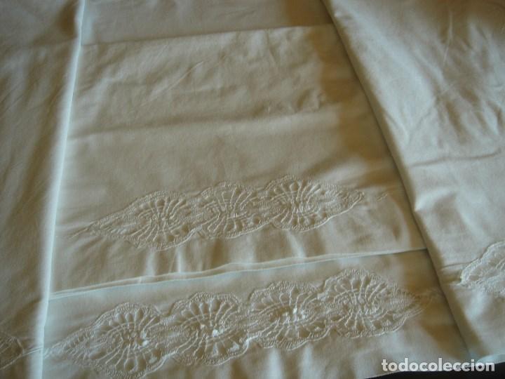 Antigüedades: juego de cama grande con aplicaciones de bolillos (28) - Foto 3 - 171052289