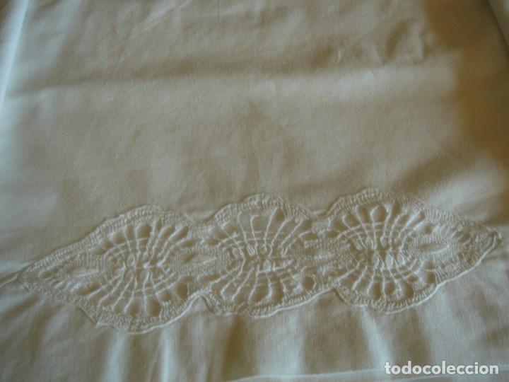 Antigüedades: juego de cama grande con aplicaciones de bolillos (28) - Foto 5 - 171052289