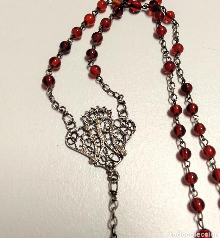 Antigüedades: Rosario antiguo en filigrana de plata y cristal rojo - AD2 - Foto 2 - 171056374