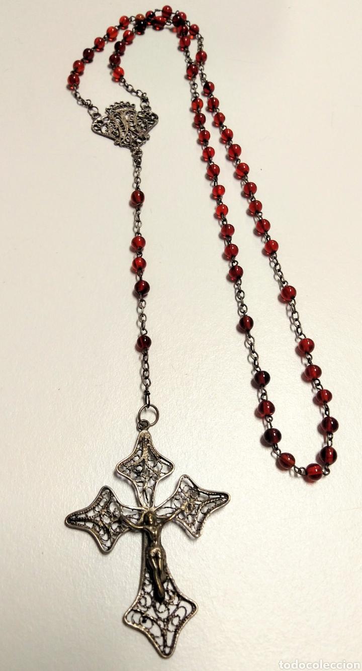 Antigüedades: Rosario antiguo en filigrana de plata y cristal rojo - AD2 - Foto 3 - 171056374