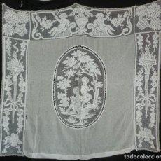 Antigüedades: ANTIGUA CORTINA - VISILLO DE ENCAJE DE RED S. XIX. Lote 171075504