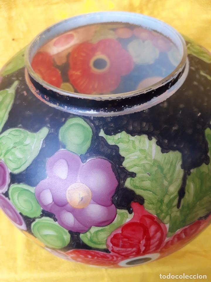 Antigüedades: jarron de Cristal pintado al fuego, hacia 1920 30 - Foto 4 - 171077179