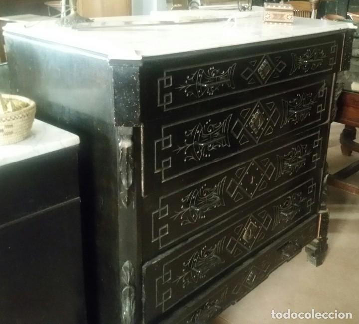 CÓMODA ALFONSINA LACADA EN NEGRO (Antigüedades - Muebles - Cómodas Antiguas)