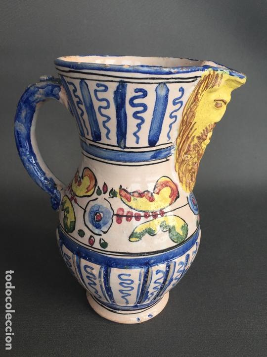 Antigüedades: ANTIGUA JARRA DE PUENTE DEL ARZOBISPO , PINTADA A MANO Y FIRMADA J.A. - Foto 4 - 171094980