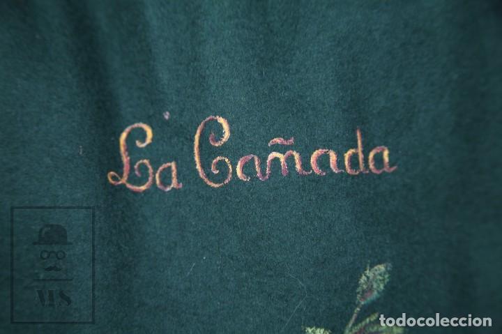 Antigüedades: Bolsa de Fieltro Caza de Perdiz - La Cañada - Pintada a Mano, Firma MC - Medidas 23 x 36 cm - Foto 3 - 171100672