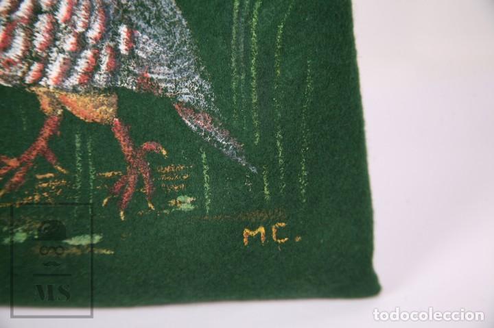 Antigüedades: Bolsa de Fieltro Caza de Perdiz - La Cañada - Pintada a Mano, Firma MC - Medidas 23 x 36 cm - Foto 4 - 171100672