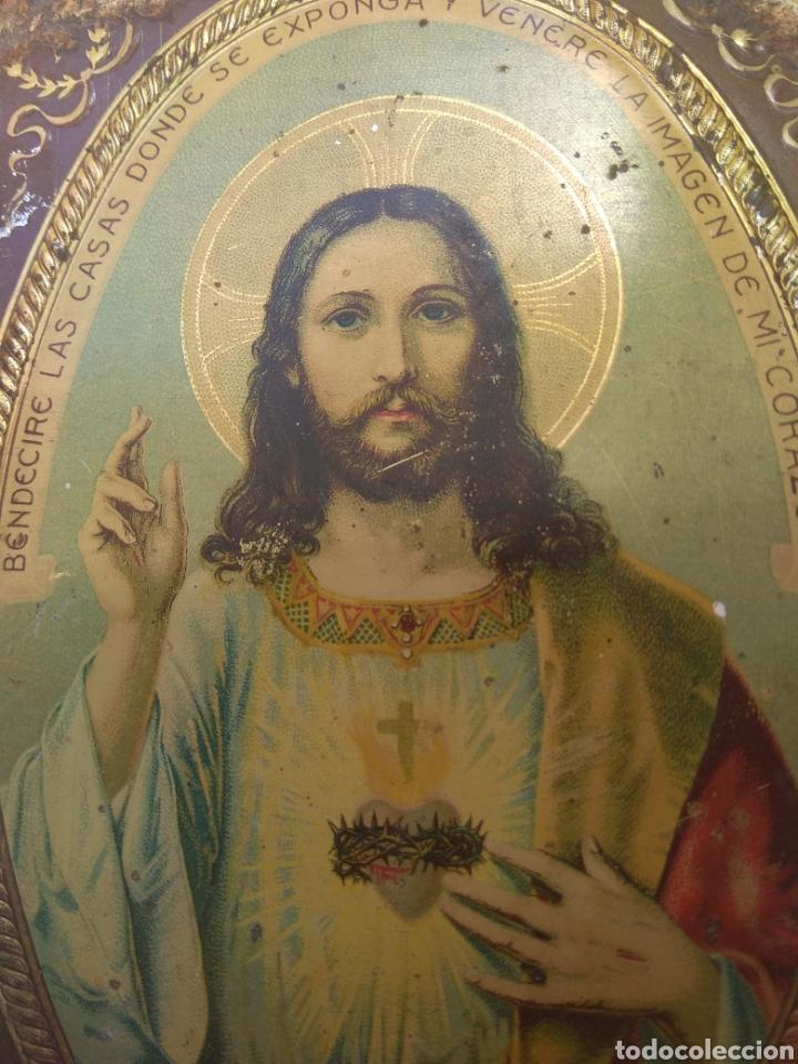 Antigüedades: Placa de Puerta Sagrado Corazón de Jesús - Foto 2 - 132498653