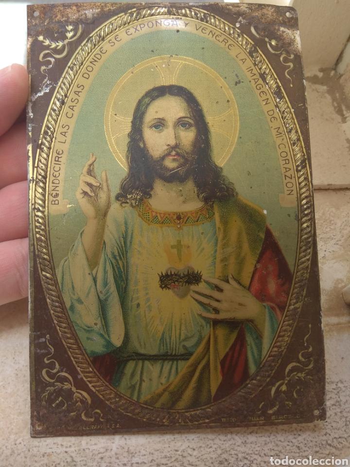 RESERVADA COMPRADOR J*****0 PLACA DE PUERTA SAGRADO CORAZÓN DE JESÚS (Antigüedades - Religiosas - Varios)