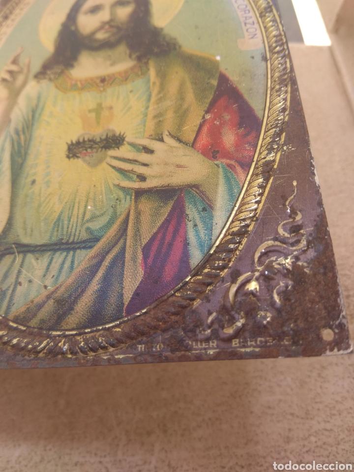Antigüedades: Placa de Puerta Sagrado Corazón de Jesús - Foto 3 - 132498653