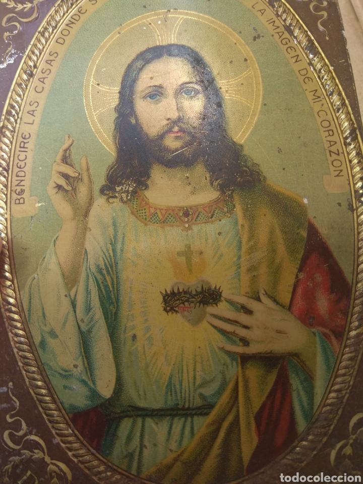 Antigüedades: Placa de Puerta Sagrado Corazón de Jesús - Foto 7 - 132498653