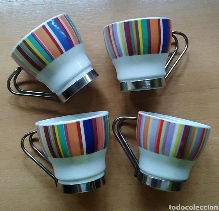 LOTE 4 TAZAS PEQUEÑAS CAFÉ CERÁMICA (Antigüedades - Porcelanas y Cerámicas - Otras)