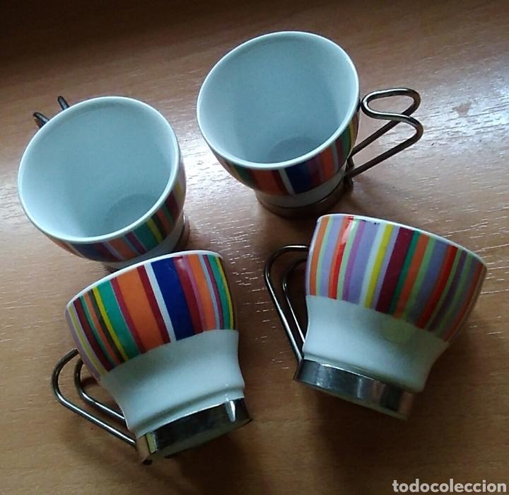 Antigüedades: Lote 4 tazas pequeñas café cerámica - Foto 2 - 171110764