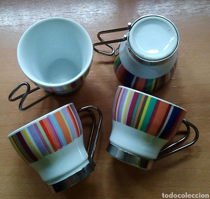 Antigüedades: Lote 4 tazas pequeñas café cerámica - Foto 3 - 171110764