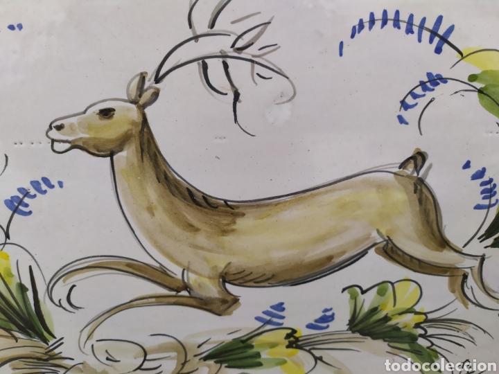 Antigüedades: Azulejo ciervo 29 cm. X 20 cm. - Foto 2 - 171132419
