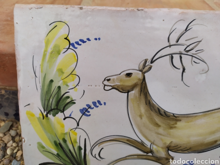 Antigüedades: Azulejo ciervo 29 cm. X 20 cm. - Foto 3 - 171132419