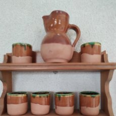Antigüedades: JARRA Y VASOS DE VINO CON MADERA. Lote 171133133