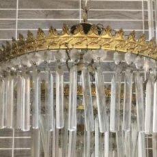 Antigüedades: LÁMPARA DE TECHO DE BRONCE Y CRISTALES EN CASCADA DE 3 PISOS CIRCULARES. Lote 171147990