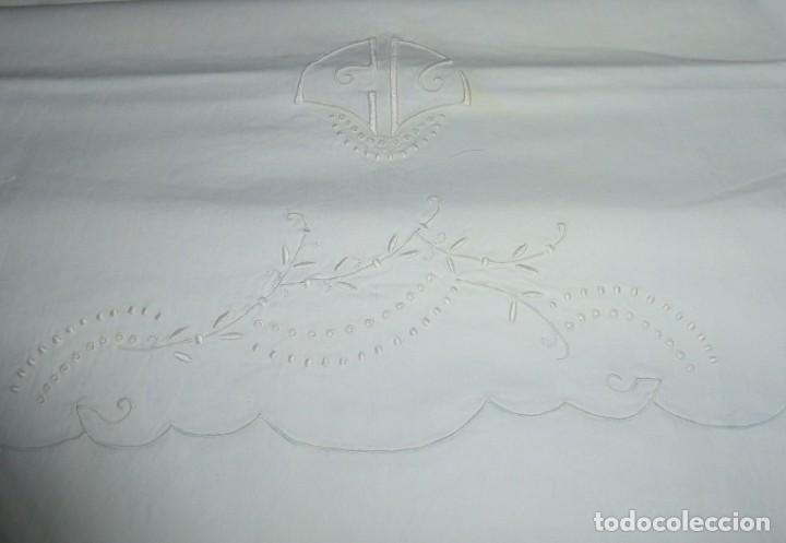 Antigüedades: Sábana y funda de almohada de algodon con bordados. - Foto 5 - 171151584