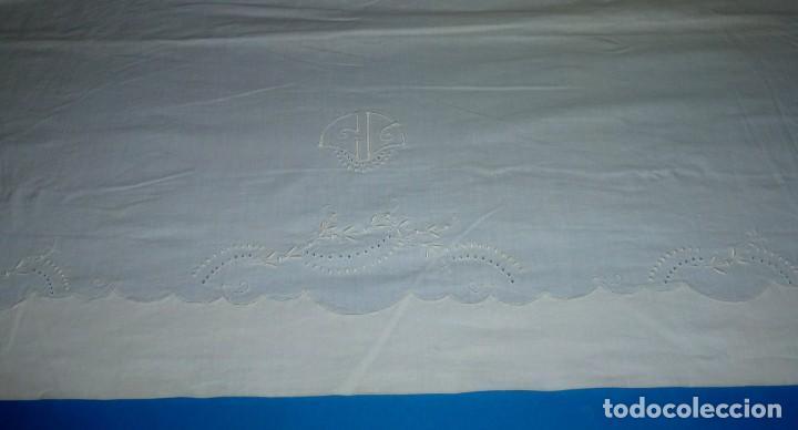 Antigüedades: Sábana y funda de almohada de algodon con bordados. - Foto 6 - 171151584