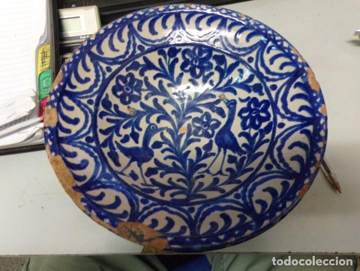 MUY ANTIGUO LEBRILLO CUENCO FAJALAUZA CON DOS PAJAROS (Antigüedades - Porcelanas y Cerámicas - Fajalauza)