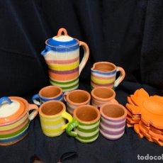 Antigüedades: ESPECTACULAR JUEGO DE CAFÉ EN CERAMICA O TERRACOTA VIDRIADA DE LA BISBAL. SIN USAR. MUY ORIGINAL. . Lote 171188629