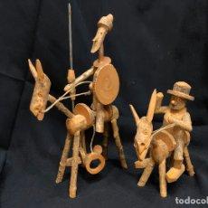 Antigüedades: CURIOSS FIGURAS REALIZADAS ARTESANALMENTE EN BOJ DE DON QUIJOTE Y SANCHO PANZA MIDEN 20 Y 12CMS ALTO. Lote 171192345