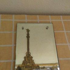 Antigüedades: ANTIGUO ESPEJO CON SERIGRAFIA MONUMENTO A CRISTOBAL COLON BARCELONA AÑOS 30-40 O ANTERIOR MODERNISTA. Lote 171200058
