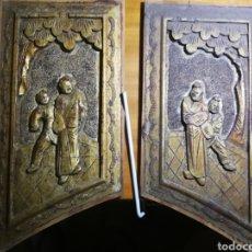 Antigüedades: PAREJA DE TABLAS CHINAS TALLADAS A MANO, PERIODO MING-GUO DATADAS ENTRE 1911 Y 1949. Lote 171202875