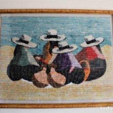 Antigüedades: TAPIZ DE LANA DE ALPACA PERÚ, MUJERES INDIGENAS SENTADAS. Lote 171203228