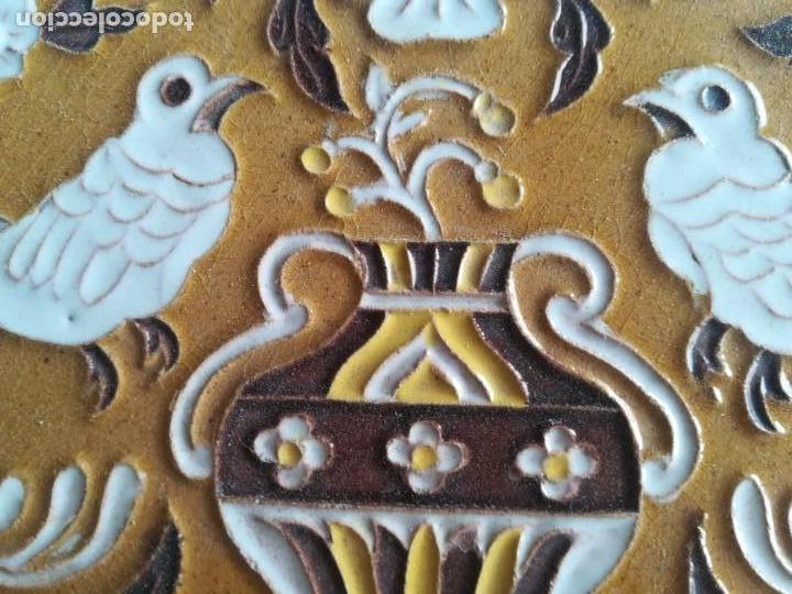 Antigüedades: AZULEJO CUERDA SECA ANTONIO VADILLO PLATA SEVILLA - Foto 3 - 171204693
