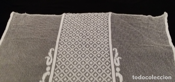 Antigüedades: Encaje de red - pareja antiguas cortinas modernistas - 3 metros - Foto 6 - 171232858