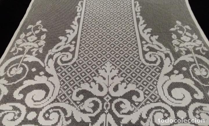 Antigüedades: Encaje de red - pareja antiguas cortinas modernistas - 3 metros - Foto 8 - 171232858