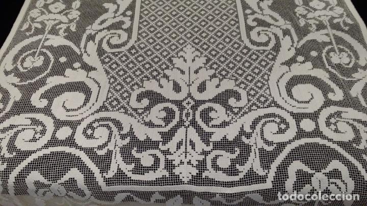 Antigüedades: Encaje de red - pareja antiguas cortinas modernistas - 3 metros - Foto 9 - 171232858