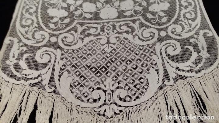 Antigüedades: Encaje de red - pareja antiguas cortinas modernistas - 3 metros - Foto 11 - 171232858