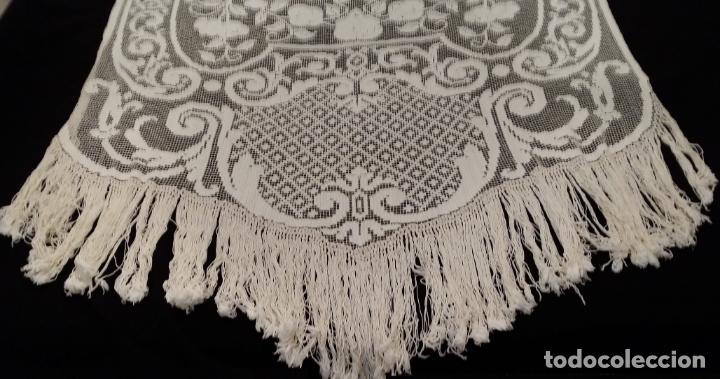 Antigüedades: Encaje de red - pareja antiguas cortinas modernistas - 3 metros - Foto 12 - 171232858