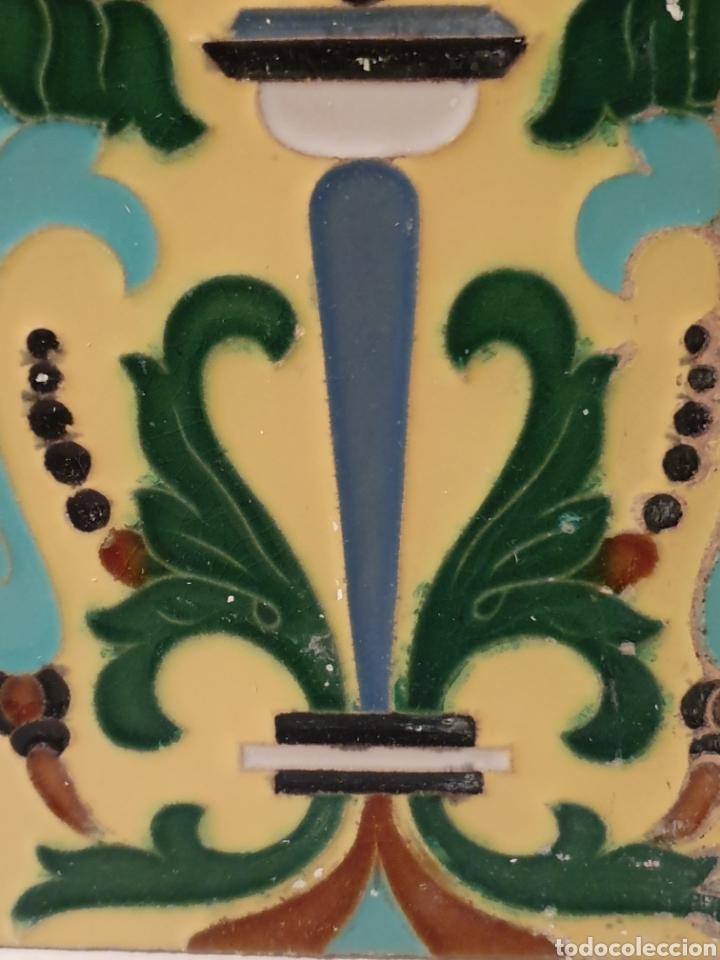 Antigüedades: PRECIOSO AZULEJO FABRICADO POR MENSAQUE S.XIX - Foto 4 - 169982080