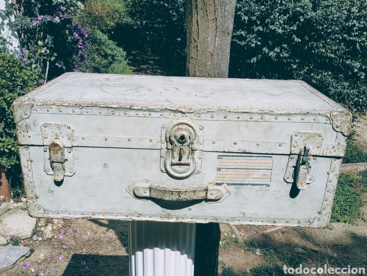Antigüedades: Gran Bagul Antiguo de tono Turquesa ANTIQUE UNIQUE - Foto 4 - 171240089