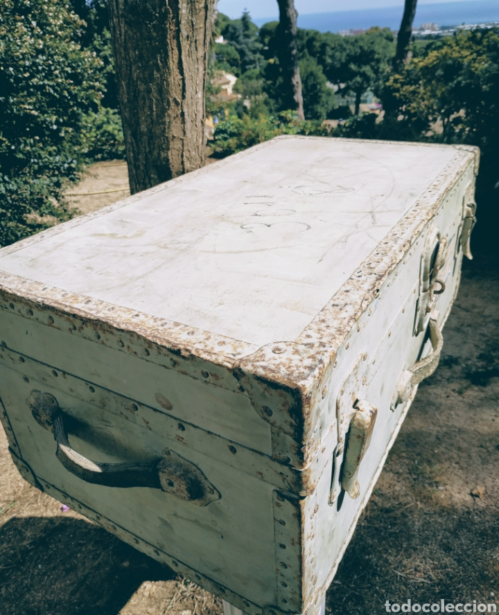 Antigüedades: Gran Bagul Antiguo de tono Turquesa ANTIQUE UNIQUE - Foto 5 - 171240089