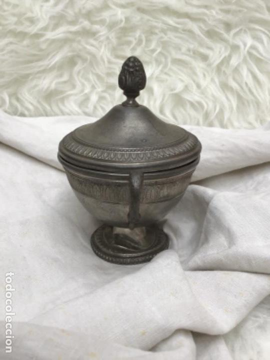 Antigüedades: Azucarero en peltre con sello. - Foto 3 - 171245077