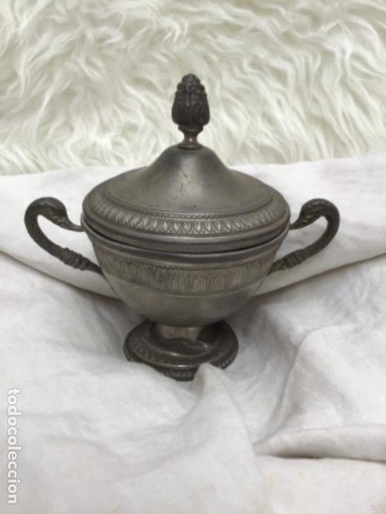 Antigüedades: Azucarero en peltre con sello. - Foto 6 - 171245077