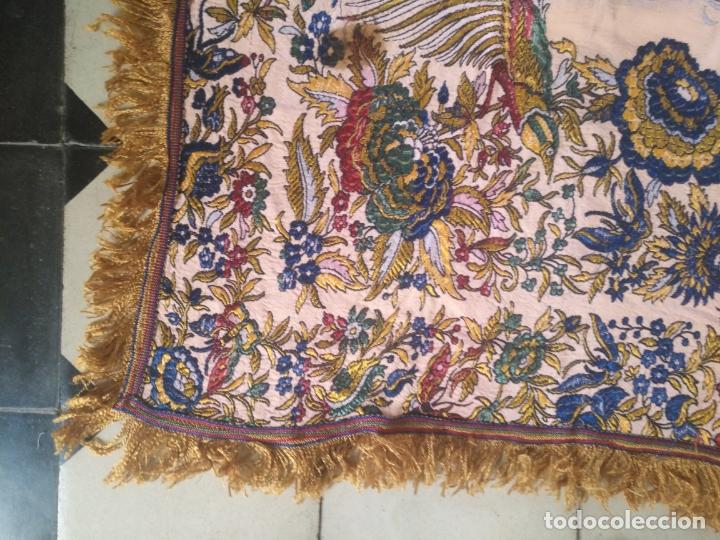 Antigüedades: manton mantocillo estampado brocado sedina con motivos taurinos, toro torero - 140 cm + flecos - - Foto 12 - 171261657