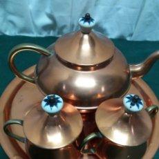 Antigüedades: JUEGO CAFÉ COBRE. Lote 171265218
