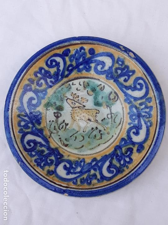 Antigüedades: LOTE DE 3 PLATOS ANTIGUOS DE PUENTE DEL ARZOBISPO ( TOLEDO ) - Foto 2 - 215256067