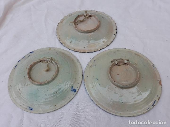 Antigüedades: LOTE DE 3 PLATOS ANTIGUOS DE PUENTE DEL ARZOBISPO ( TOLEDO ) - Foto 5 - 215256067