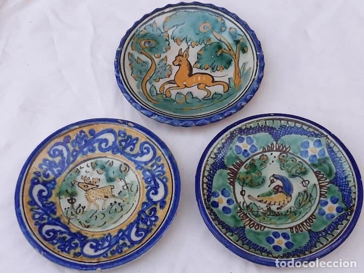 LOTE DE 3 PLATOS ANTIGUOS DE PUENTE DEL ARZOBISPO ( TOLEDO ) (Antigüedades - Porcelanas y Cerámicas - Puente del Arzobispo )