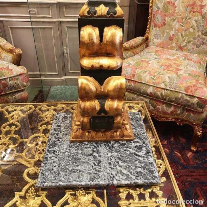 MÉNSULA MADERA MÁRMOL (Antigüedades - Muebles Antiguos - Ménsulas Antiguas)