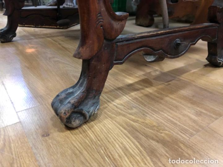 Antigüedades: ANTIGUA MESA DE SAN ANTONIO EN MADERA CON TRAVESAÑO DE HIERRO - MEDIDA 85X64X57 CM - Foto 5 - 171338462